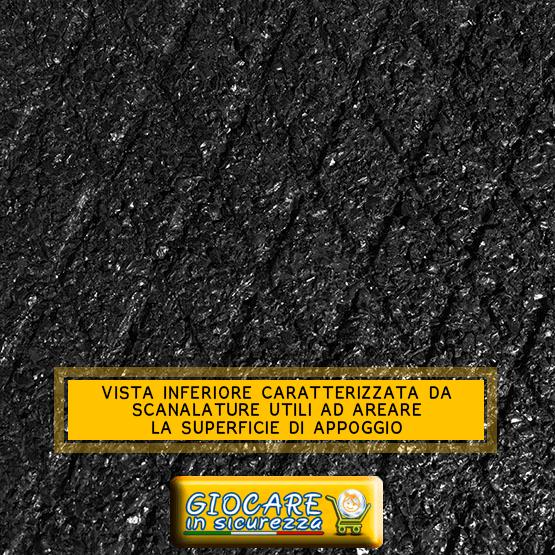Scanalature a rombi per evitare la creazione di muffe e batteri sotto la pavimentazione in gomma