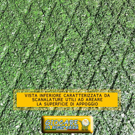 Scanalature utili ad aerare la superficie inferiore per evitare muffe, funghi e cattivi odori
