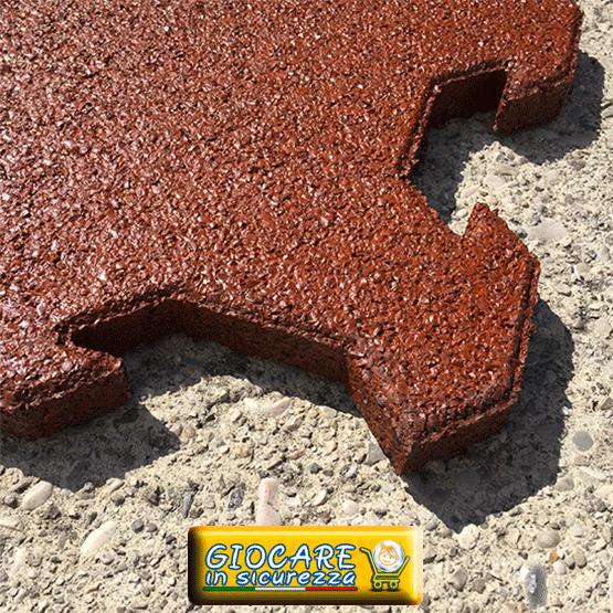 Sistema ad incastro del pavimento gomma per esterni di colore rosso mattone / scuro
