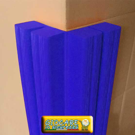 Paraspigolo blu di gomma soffice atossica o ignifuga