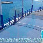 Vista dall'alto di varie protezioni sportive per la navi da crociera