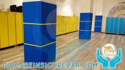 Pilastri scolastici interni con protezioni morbide e antitrauma